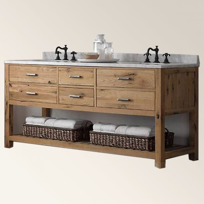 Double trough sink washstand