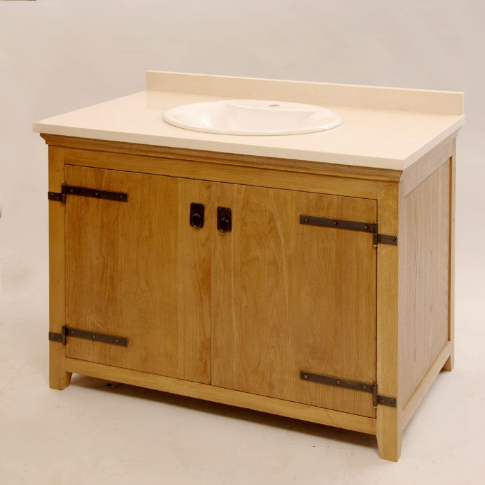 Washstand with exterior hinge