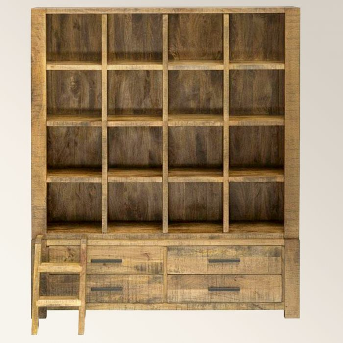 Open bookcase with drawers