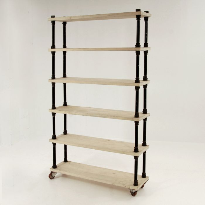 Open bookcase with pipes