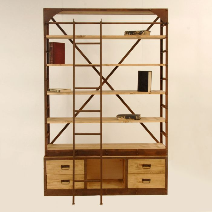 Industrial open bookcase with drawers