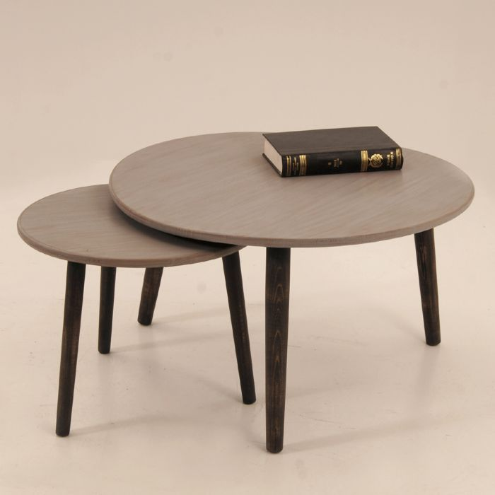 A PAIR OF ROUND ZIRGON COFFEE TABLES